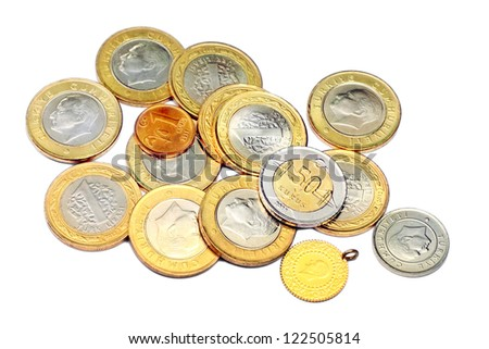 Heap of various coins and a gold. Isolated on white background - stock photo