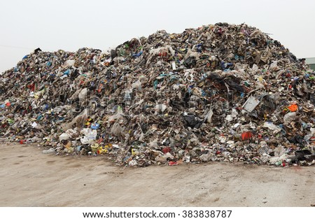 Heap of various mixed waste