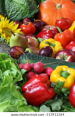 Heap of veggies and fruits for wallpaper - stock photo