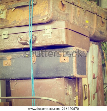 Heap of Vintage Trunks, Instagram Effect - stock photo