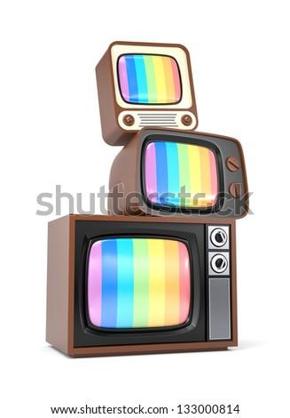 Heap of vintage TV - stock photo