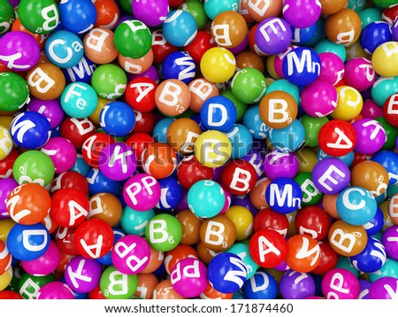 Heap of Vitamins Abstract Background - stock photo