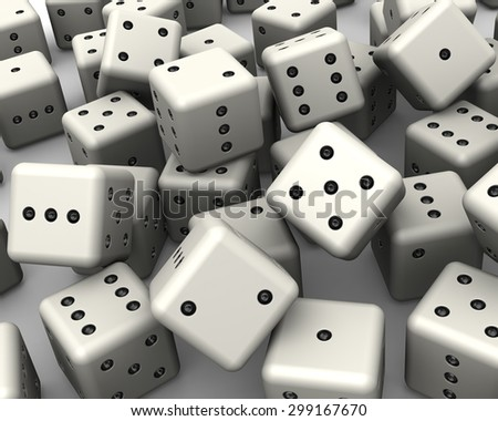 Heap of white dices as background on white surface