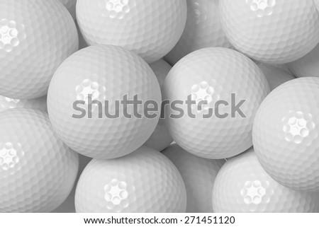 Heap of white golf balls background, 3D illustration - stock photo