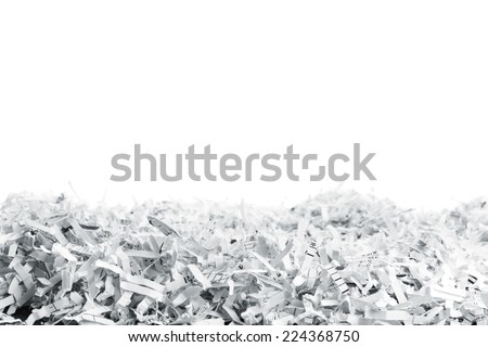 Heap of white shredded papers - stock photo