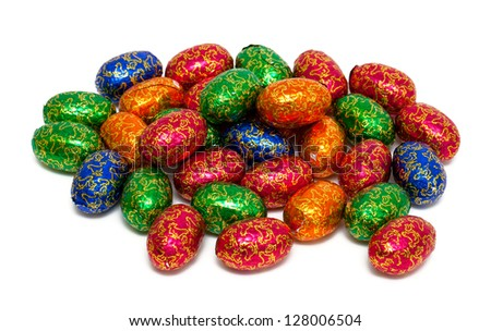 heap of wrapped chocolate eggs - stock photo