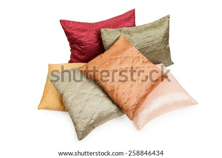 Heap or stack of comfortable home bedroom pillow cushion furniture white isolated - stock photo