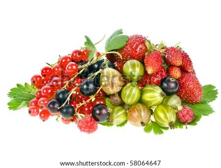 Heap pile of fresh garden berries isolated on white - stock photo
