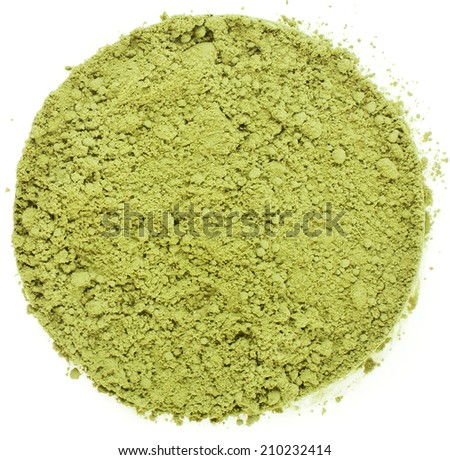 Heap pile of Matcha, Green Japanese Powered Tea Surface Top view  isolated on white background - stock photo