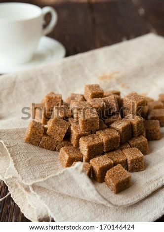 heap refined cane sugar, food closeup - stock photo