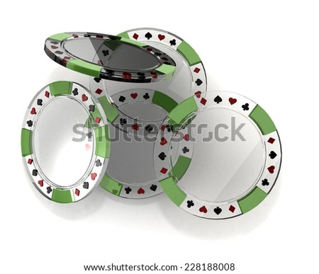 Heap transparent poker chips - stock photo