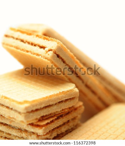 Heap wafers on a white background - stock photo