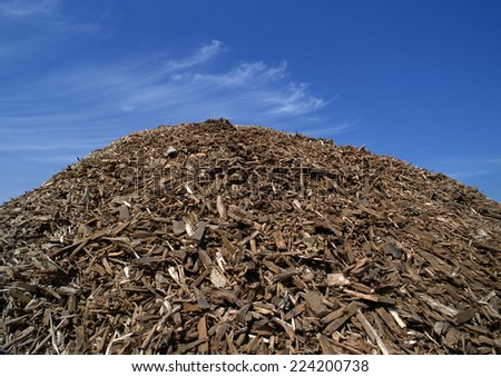 Heaping pile of wood chips - stock photo