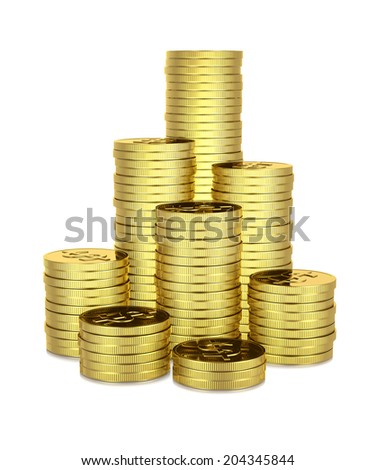 Heaps of Dollar Coins 3D Illustration on White Background - stock photo