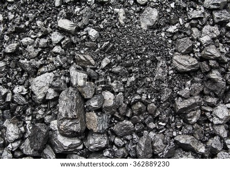 Heaps of mined coal on the surface. Backgrounds and textures - stock photo