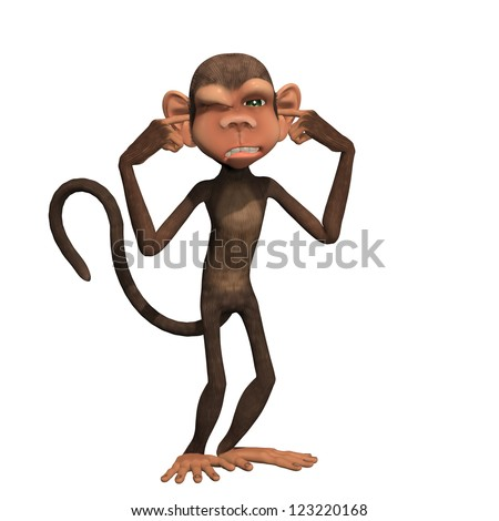 Hear No Evil - One of the Three Wise Monkeys with his fingers in his ears. - stock photo