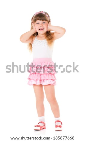 Hear no evil - portrait of girl isolated on white background - stock photo