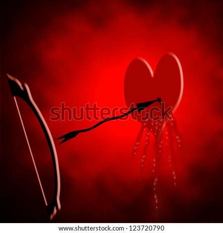 Heard with blood dripping out after being punctured by arrow - stock photo