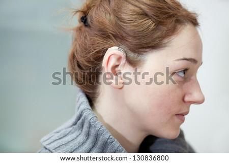 hearing aid - stock photo