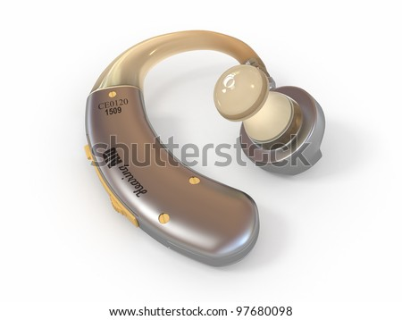 Hearing aid on white isolated background. 3d - stock photo