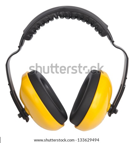 Hearing protection yellow ear muffs, with clipping paths - stock photo
