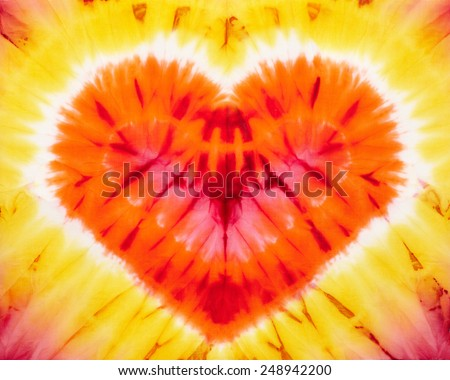 Heart. Abstract tie dyed fabric background - stock photo