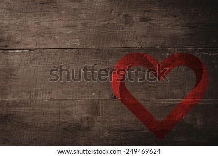 heart against overhead of wooden planks - stock photo