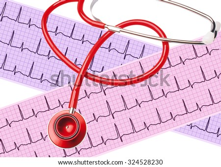 Heart analysis, electrocardiogram graph (ECG) with stethoscope on white background - stock photo