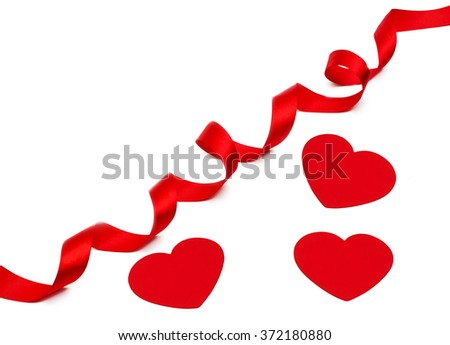 Heart and a red tape isolated on the white - stock photo