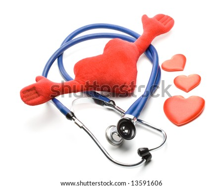 Heart and a stethoscope on a white background. Concept for cardiology.