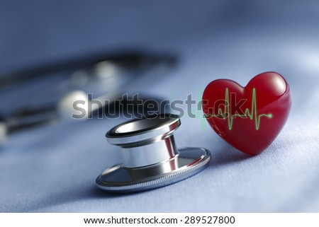 Heart and a stethoscope with heartbeat (pulse) symbol in Light blue background - stock photo