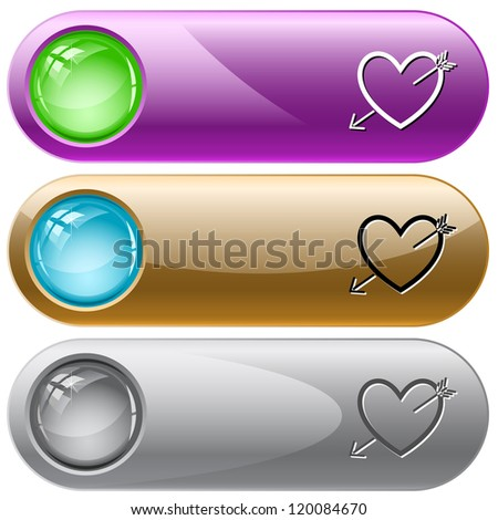Heart and arrow. Internet buttons. Raster illustration. Vector version is in my portfolio. - stock photo