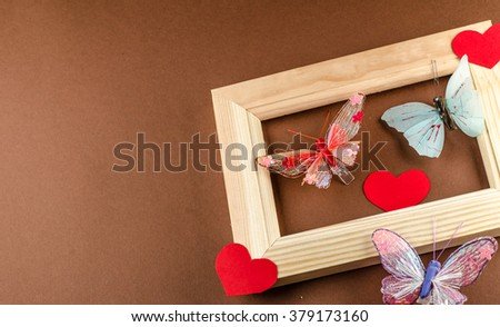 heart and blackboard,butterfly,horizontal photo