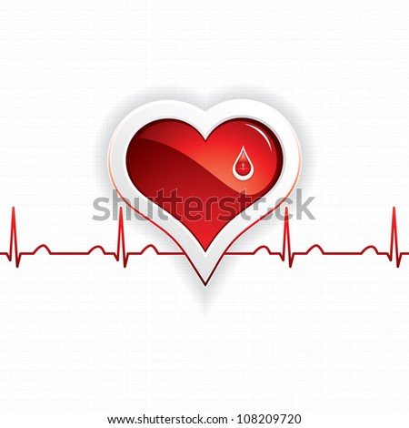 Heart and blood drop - stock photo