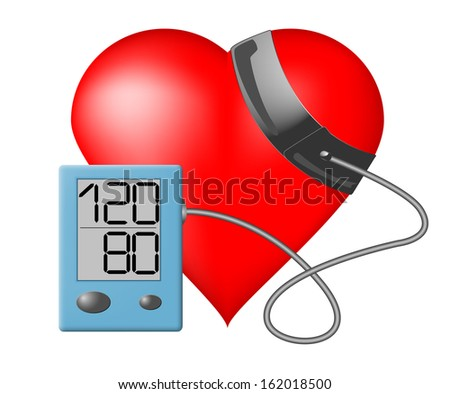 Heart and blood pressure monitor on a white background - Raster version - stock photo