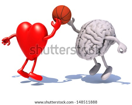 heart and brain with arms and legs playing to a basket ball, 3d illustration - stock photo