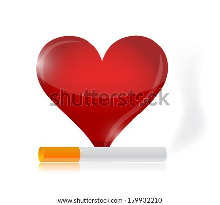 heart and cigarette illustration design over a white background