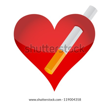 heart and cigarrette illustration design over a white background