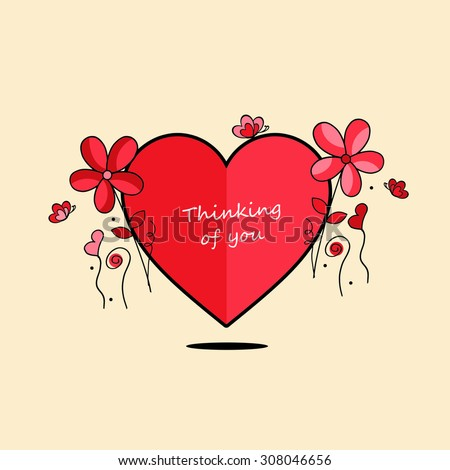 heart flowers thinking youのイラスト素材 308046656 shutterstock