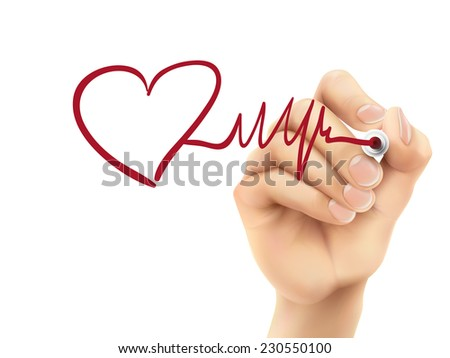 heart and heartbeat symbol drawn by hand on a transparent board - stock photo