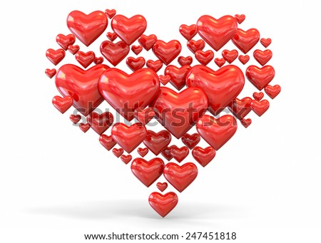 Heart and Love Concept 3D - stock photo