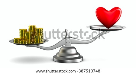 Heart and money on scales. Isolated 3D image - stock photo