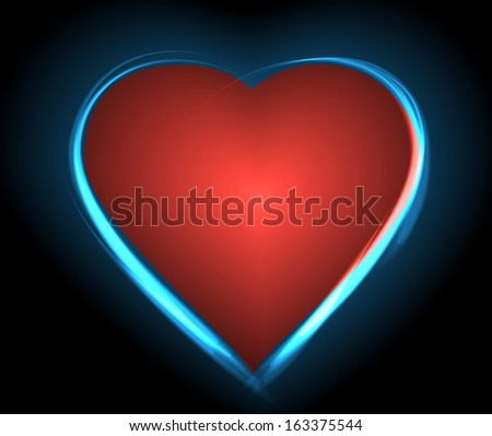 Heart and neon glow on a black background, Raster version