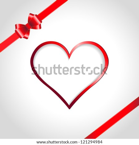 Heart and red ribbon bow on a background. Raster version