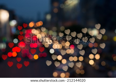 heart and Square Bokeh from car light on the traffic road - stock photo