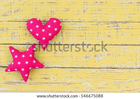 Heart and star shape background.