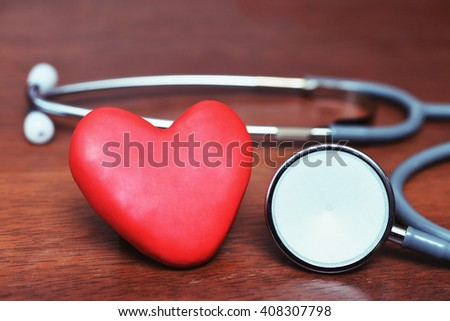 heart and stethoscope , good healthy care concept  - stock photo