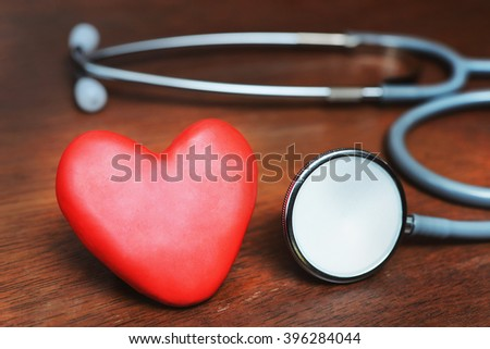 heart and stethoscope , heart health care concept background - stock photo