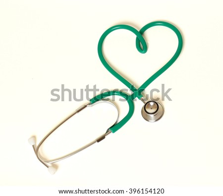 Heart and stethoscope isolated on white background concept for h
