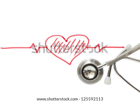 heart and stethoscope on white